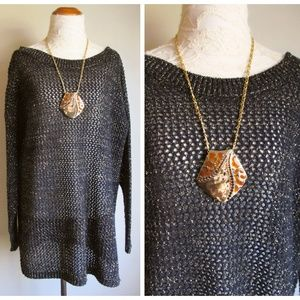Knit Stitches Sweaters - Vintage '80s Oversized Black & Gold Tunic Sweater